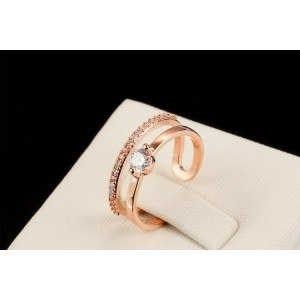 Inel de mireasă reglabil Culoare aurie_Roză 1
