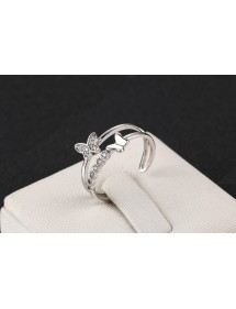 Ring Adjustable Butterfly Silver Color 2