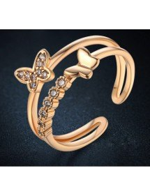 Ring Adjustable Butterfly Gold Color -
