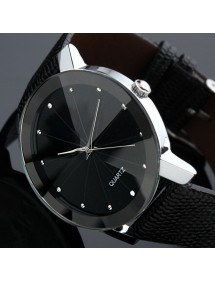 Men's Watch - SuperNovae - Faux Leather - Black-5