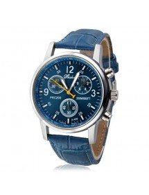 Reloj de los hombres - Jean - de Cuero de la Pu - color Azul