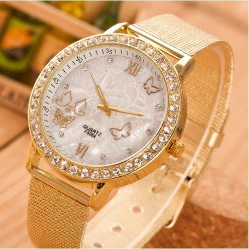 Montre Femme - Golden Fly - Papillons - Mailles Acier Inoxydable - Or 2