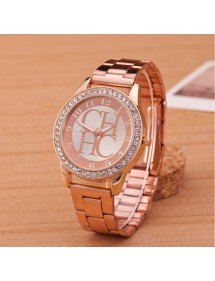 Shows Female - Pink-Diamond - Luxury - Stainless - Steel Or_Rose