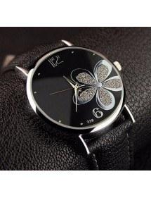 Watch Wife - Black Flower - Pu Leather - Black/Silver