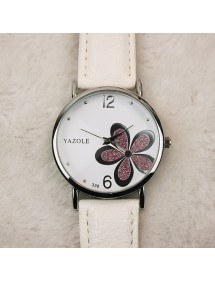 Watch Woman - White Flower - Pu Leather - White/Pink 2