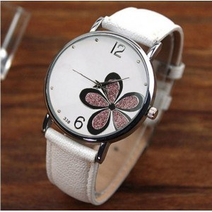 Watch Woman - White Flower - Pu Leather - White/Pink