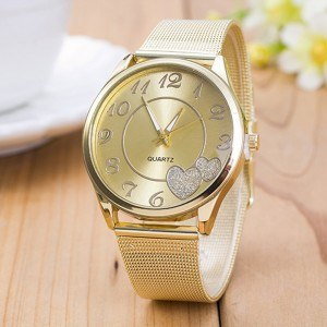 Watch Woman Golden Love - Hearts - Mesh Stainless Steel - Gold