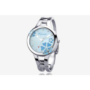 Watch Woman - Blue Flower - Stainless Steel - Luxury - Silver/Blue