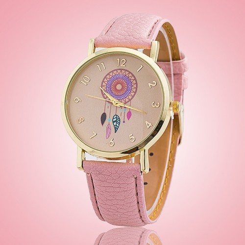 Montre Femme Clear Pink Dream - Attrape-Rêve - Simili Cuir Rose_Clair
