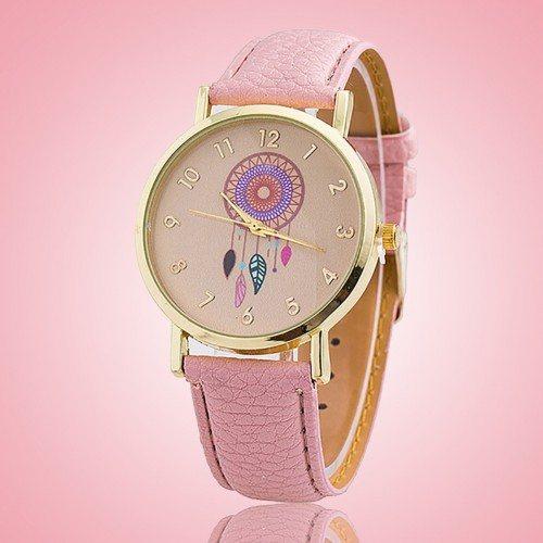 Reloj De Mujer Clara Rosa Sueño - Catcher-Sueño - De Cuero De La Pu Rose_Clair