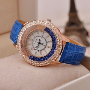 Montre Femme - Sables Mouvants QuickSand - Perles - Simili Cuir Bleu