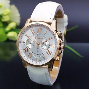 Watch Woman - Simply - Roman Numerals - Leather - White-2