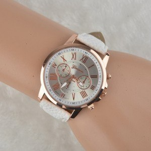 Watch Woman - Simply - Roman Numerals - Leather - White