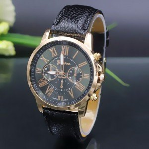 Watch Woman - Simply - Roman Numerals - Leather - Black-2