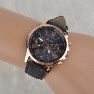 Watch Woman - Simply - Roman Numerals - Leather - Black 3