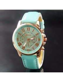 Watch Woman - Simply - Roman Numerals - Leather - Bleu_Turquoise