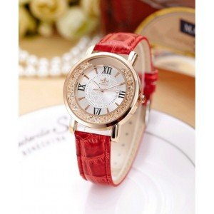 Watch Woman - Quicksand QuickSand - Luxury - Pearl - Red Leather