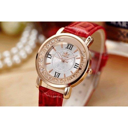 Montre Femme - Sables Mouvants QuickSand - Luxe - Perles - Cuir Rouge 3