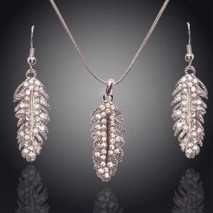 Collana & orecchini di - Piume - di Diamante di Cristallo - Argento 2
