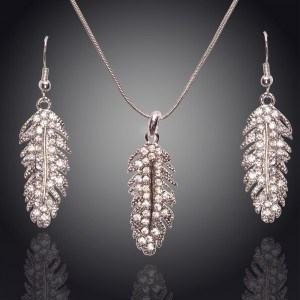 Necklace & earrings - Feather - Diamond-Crystal - Silver 2