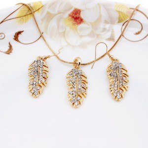 Collar y aretes de Plumas - de Diamante de Cristal de Oro 2