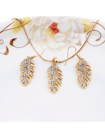Necklace & earrings - Feather - Diamond-Crystal - Gold 2