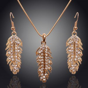 Necklace & earrings - Feather - Diamond-Crystal - Gold