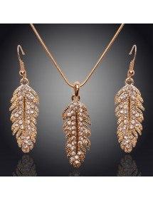 Collar y aretes de Plumas - de Diamante de Cristal de Oro
