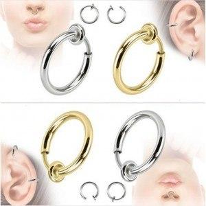 Piercings - Faux Anneaux Clips - Nez/Oreille - Lot de 2 - Or_Et_Argent