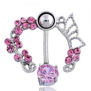 Contorno de piercing no umbigo - Coroa de rosas - Aço cirúrgico rosa