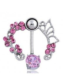 Belly Button Piercing Contour - Crown of Roses - Pink Surgical Steel