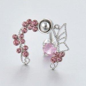 Pilvo auskarų kontūras - rožių vainikas - chirurginis plienas rožinis 2