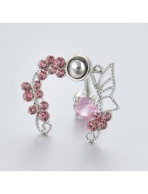 Kontura piercingu do pupíku - Crown of Roses - Chirurgická ocel Růžová 2