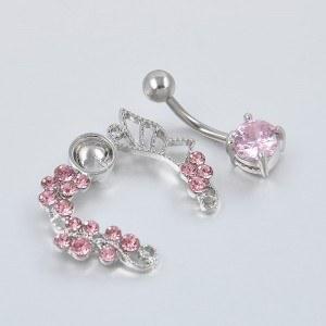 Contorno de piercing no umbigo - Coroa de rosas - Aço cirúrgico rosa 3