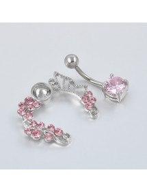 Kontura piercingu do pupíku - Crown of Roses - Pink Surgical Steel 3