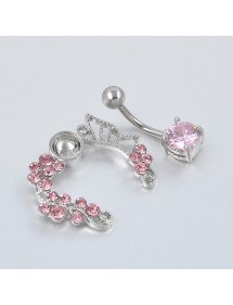 Piercing Nombril Contour - Couronne de Roses - Acier Chirurgical Rose 3