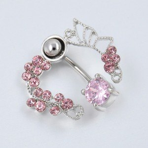 Piercing Nombril Contour - Couronne de Roses - Acier Chirurgical Rose 4