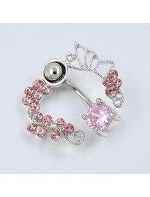 Kontura piercingu do pupíku - Crown of Roses - Surgical Steel Pink 4