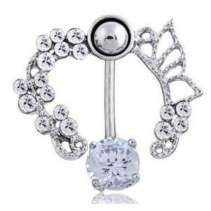 Piercing Buric Contur - Coroana de Trandafiri - Oțel Chirurgical-Alb