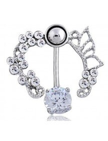 Piercing Navel Contour - Crown of Roses - Surgical Steel-White