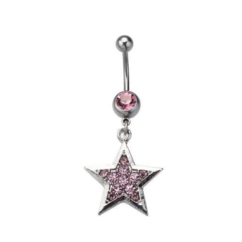 Piercing Nombril - Étoile - Acier Chirurgical - Argent Rose 2