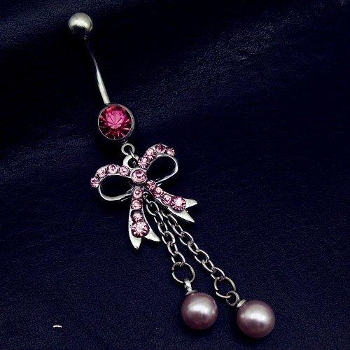 Piercing Ombligo - Bow-Tie - Quirúrgica De Acero - Plata/Rosa