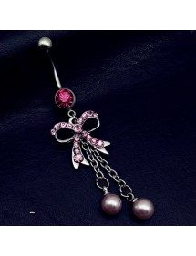 Piercing Ombelico - Papillon - In Acciaio Chirurgico - Argento/Rosa