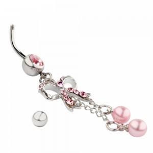 Piercing Ombligo - Bow-Tie - Quirúrgica De Acero - Plata/Rosa 3