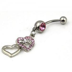 Piercing Nombril - Double Coeur - Acier Chirurgical - Argent/Rose