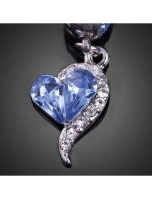 Piercing Nombril - Coeur - Acier Chirurgical - Argent/Bleu