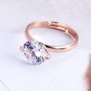 Ring Adjustable Solitaire Gold Color