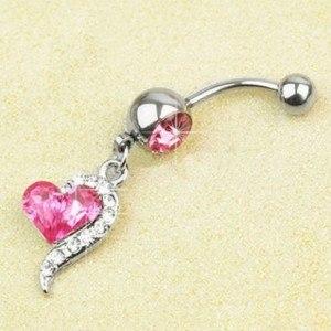 Piercing Ombligo - Corazón De Acero Quirúrgico, Plata/Rosa