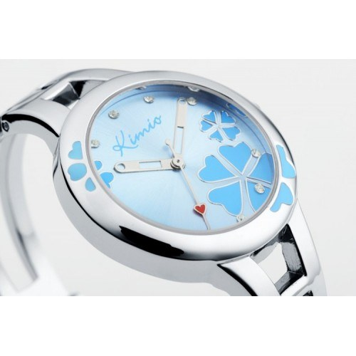Watch Woman - Blue Flower - Stainless Steel - Luxury - Silver/Blue 2
