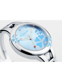 Montre Femme - Blue Flower - Acier Inoxydable - Luxe - Argent/Bleu 2